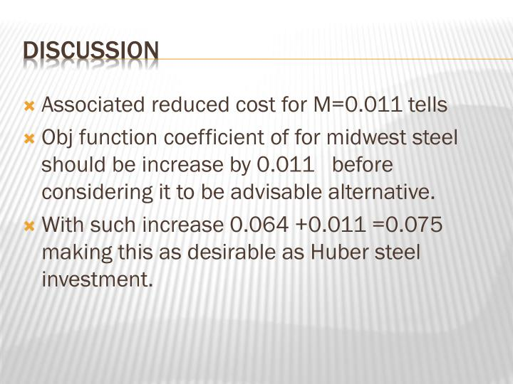 Associated reduced cost for M=0.011 tells