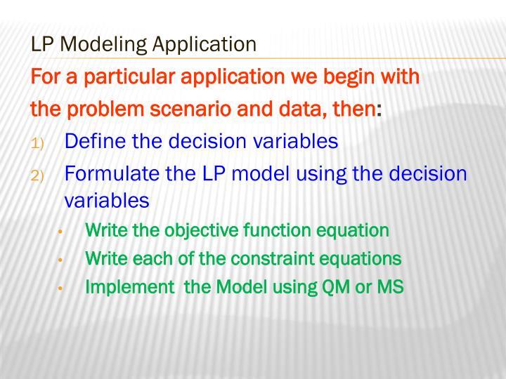 LP Modeling Application