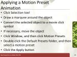 applying a motion preset animation