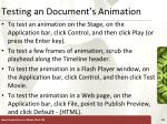 testing an document s animation