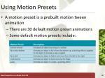 using motion presets