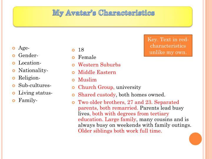 My Avatar's Characteristics