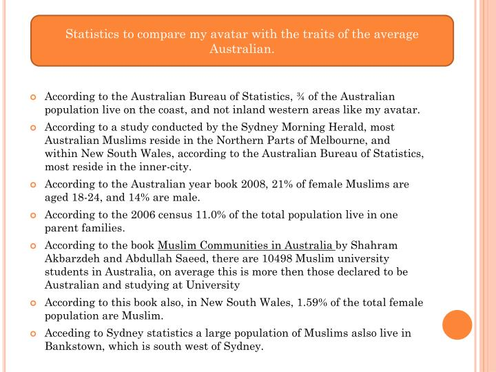 Statistics to compare my avatar with the traits of the average Australian.