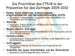 die priorit ten des ctn b in der pr vention f r den zeitraum 2009 2012