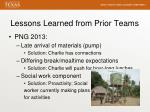 lessons learned from prior teams