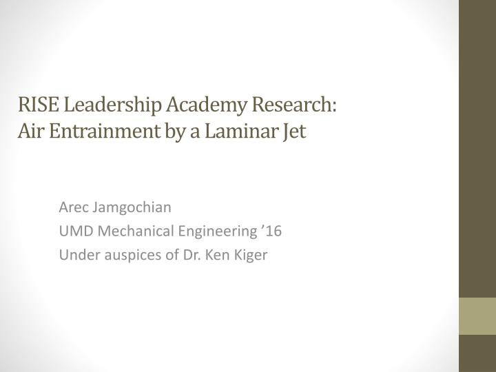 rise leadership academy research air entrainment by a laminar jet n.