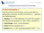 finding inverse function formulas