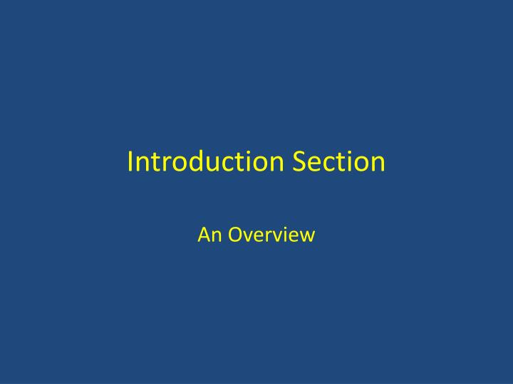 introduction section n.