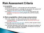 risk assessment criteria