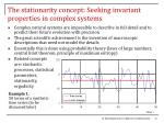 the stationarity concept seeking invariant properties in complex systems