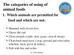 the categories of using of animal foods
