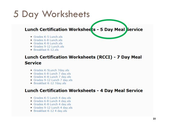 5 Day Worksheets