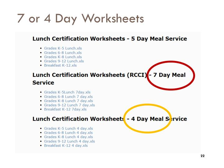 7 or 4 Day Worksheets
