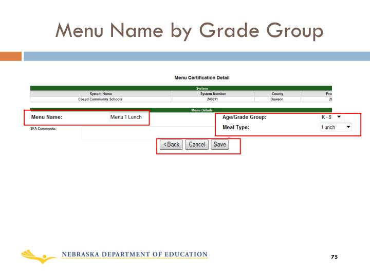 Menu Name by Grade Group