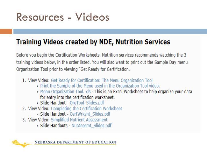 Resources - Videos