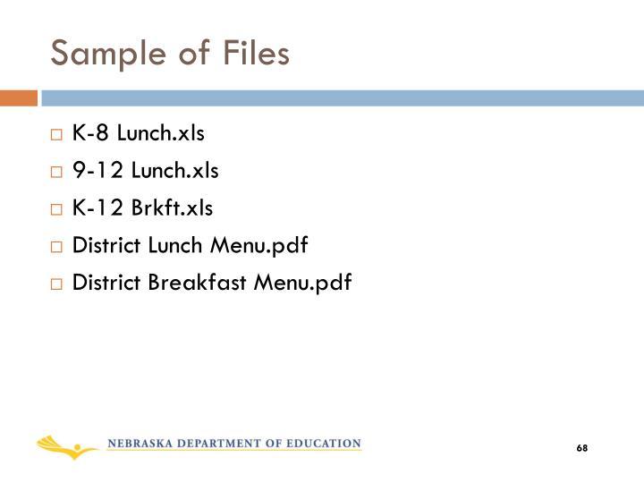 Sample of Files
