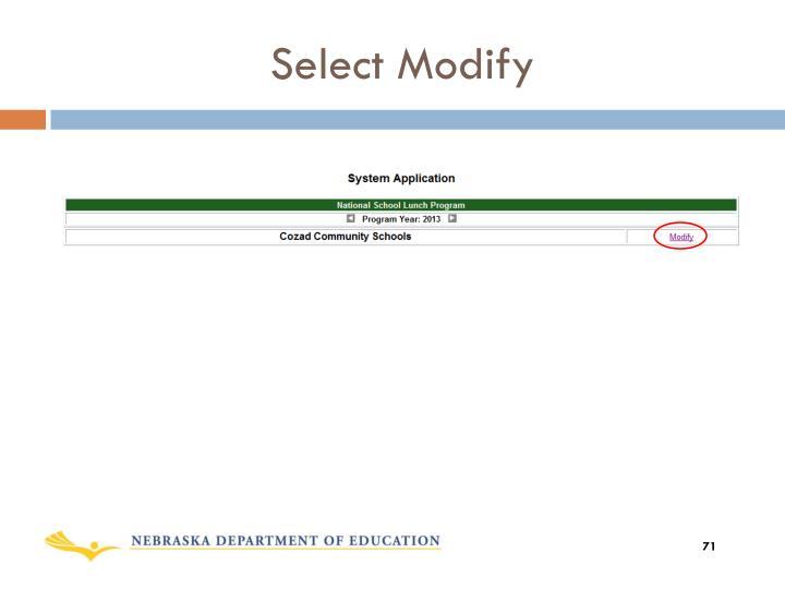 Select Modify