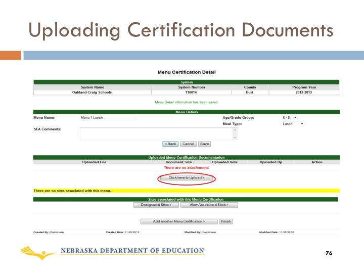 Uploading Certification Documents