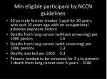 min eligible participant by nccn guidelines