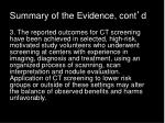 summary of the evidence cont d2