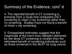 summary of the evidence cont d3