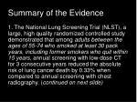 summary of the evidence
