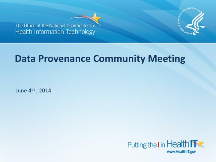 data provenance community meeting n.