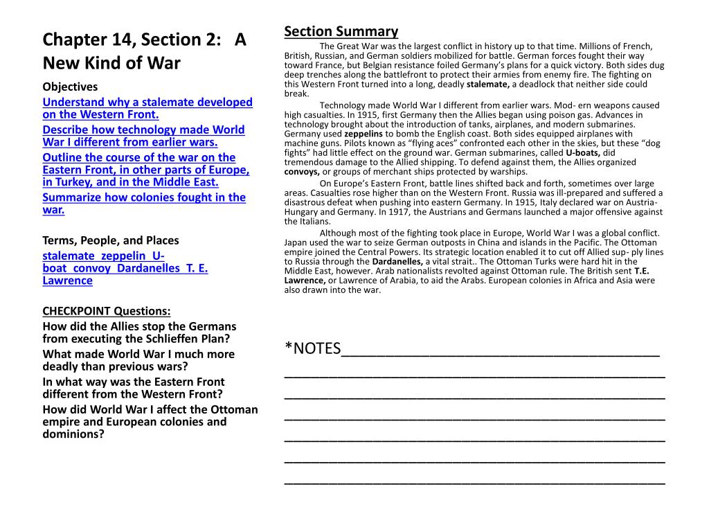 PPT - Chapter 14, Section 1: The Great War PowerPoint ...