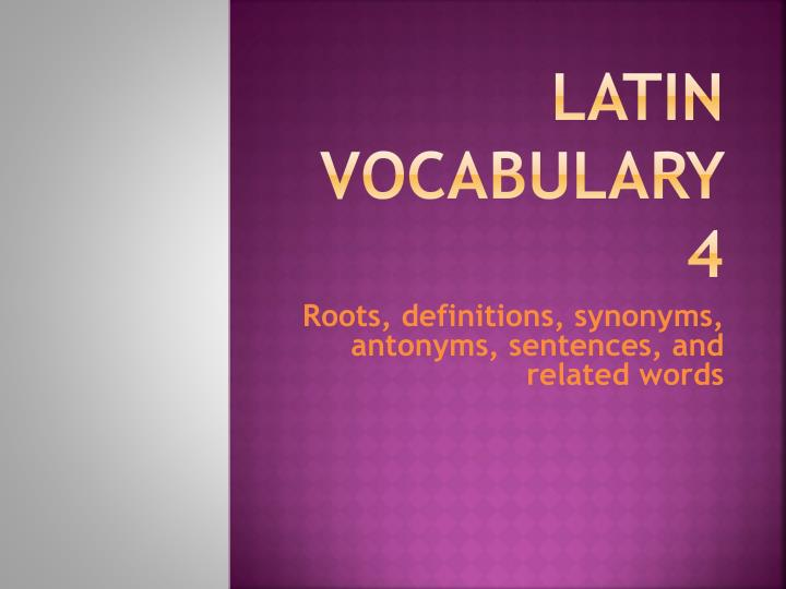latin vocabulary 4 n.