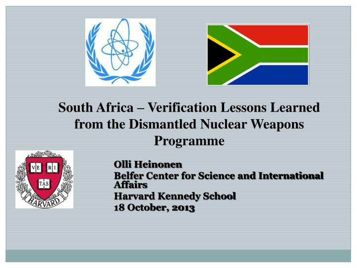 south africa verification lessons learned from the dismantled nuclear weapons programme n.