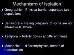 mechanisms of isolation
