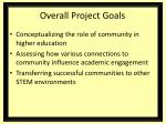 overall project goals