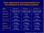 dose adjustment recommendations for the treatment of frail elderly patients