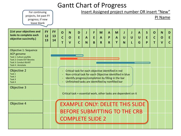 gantt chart of progress n.