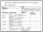 ejemplo especificaci n de una clase de material