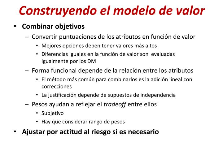 Construyendo el modelo de valor