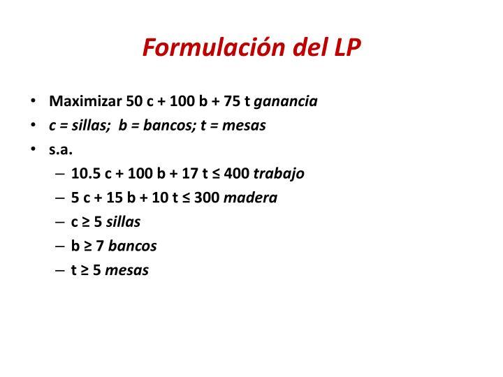 Formulación del LP