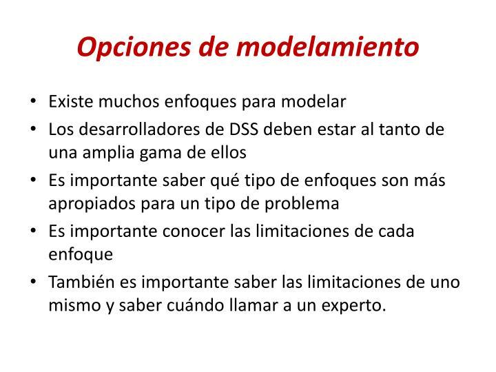 Opciones de modelamiento