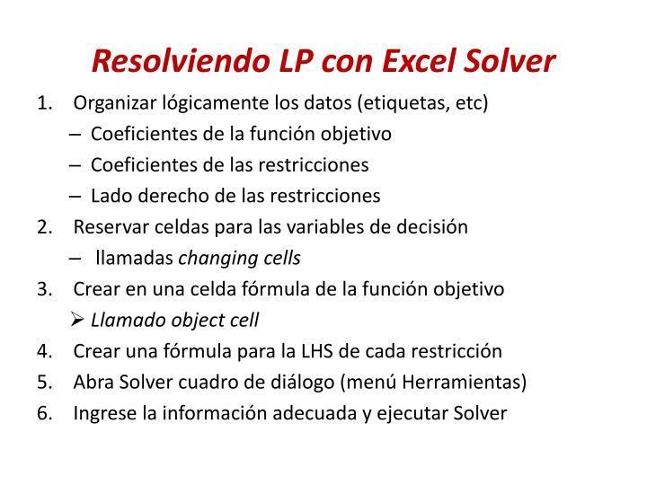 Resolviendo LP con Excel Solver