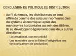 conclusion de politique de distribution