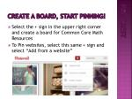 create a board start pinning
