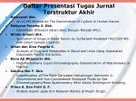 daftar presentasi tugas jurnal terstruktur akhir