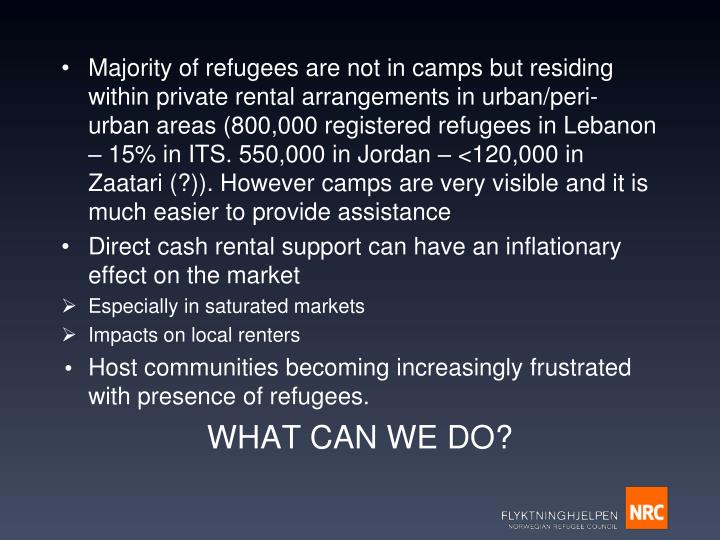 Majority of refugees are not in camps but residing within private rental arrangements in urban/