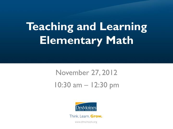 teaching and learning elementary math n.