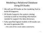 modeling a relational database using er studio