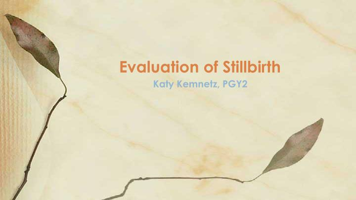evaluation of stillbirth n.