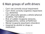 6 main groups of unfit drivers