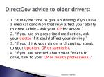 directgov advice to older drivers