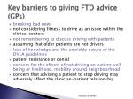 key barriers to giving ftd advice gps