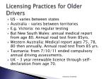 licensing practices for older drivers